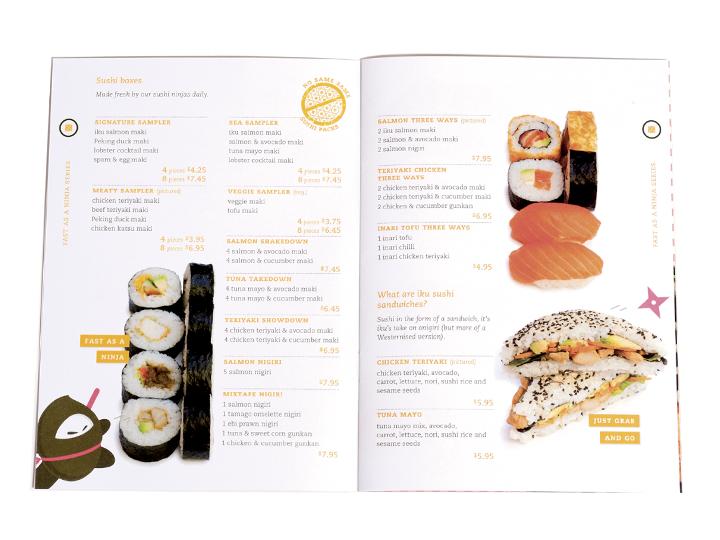 Iku Sushi menu booklet
